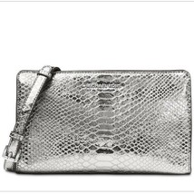Michael Kors  NEW Pewter Metallic Embossed Leather Large Crossbody Clutc... - £67.81 GBP