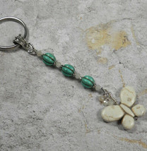 Howlite Butterfly Crystal Beaded Handmade Keychain Split Key Ring Turquoise - $16.48