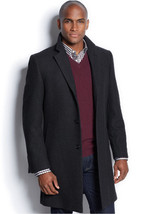 NEW NAUTICA HERRINGBONE CHARCOAL SINGLE BREASTED WOOL BLEND OVER COAT 46... - $69.99
