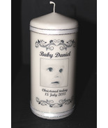 Personalised Photographic Christening pillar candle Memento | Cellini Ca... - $20.51