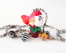Goldfish Charm Necklace, Anime Jewelry, Japan, Waloli - $21.00