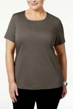 Karen Scott  3X Womens Brown clay Scoop Neck Casual Top Shirt Plus NEW - $17.82