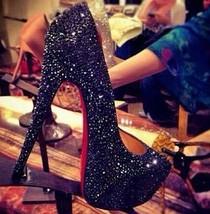 Black Crystal Bride Shoes High Heels red bottom Rhinestone Bridal Wedding Shoes image 2