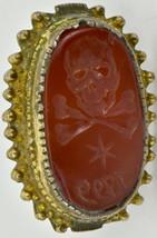 MUSEUM Georgian Occultist/Masonic Memento Mori Skull Carnelian seal ring... - $3,430.00