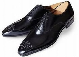 Handmade Men's Black Leather Toe Brogues Dress/Formal Oxford Leather Shoes image 1