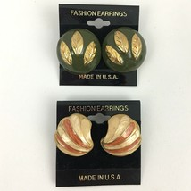 Vintage Enamel Earrings Lot Green Gold Tone Chunky Round Leaf Cream Pierced - $11.83