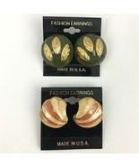 Vintage Enamel Earrings Lot Green Gold Tone Chunky Round Leaf Cream Pierced - $11.83