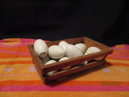 Fourteen wooden eggs in wooden crate for use as-is or crafts - $7.38