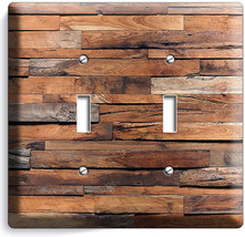 Rustic Ranch Barn Reclaimed Wood Light Switch 2 Gang Plates Log Cabin Room Decor - $11.69