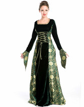 Womens Renaissance Gown Costume Medieval Small Dress Green Gold Brocade - $59.49