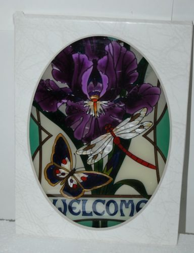 Joan Baker Designs LO222 Iris Butterfly Dragonfly Welcome Oval Suncatcher 9 Inch