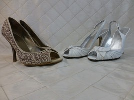 Guess Shoes Le Chateau lot 2 pairs with boxes heels pumps peep-toe slingback 7.5 - $29.02