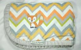 Blankets & Beyond FOX Baby Blanket Chevron Grey White Orange SOFT Lovey ... - $27.09