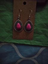 Pink Crackle Silver Earrings - $5.00
