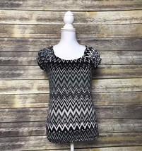 One World Live and Let Live Chevron Black White Open Scoop Back Top - Sm... - $15.92