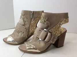 Circus Sam Edelman Womens Size 6 Beige Glitter Open Peep Toe Booties Heels Shoes - $89.09