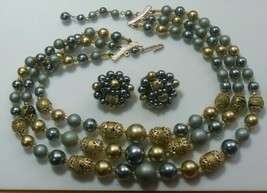 Vintage Signed Japan Metallic Gray/Blue & Gold-tone Bead Necklace Earring Set - $55.00