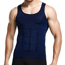 GKVK Mens Slimming Body Shaper Vest Shirt Abs Abdomen Slim, Blue, Mchest... - $11.49