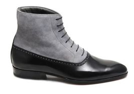 Handmade Men's Black Leather and Gray Suede High Ankle Boot image 4