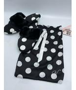 NWT Victoria's Secret L 9 10 Black White Polka Dot Faux Fur Slippers Sat... - $19.99