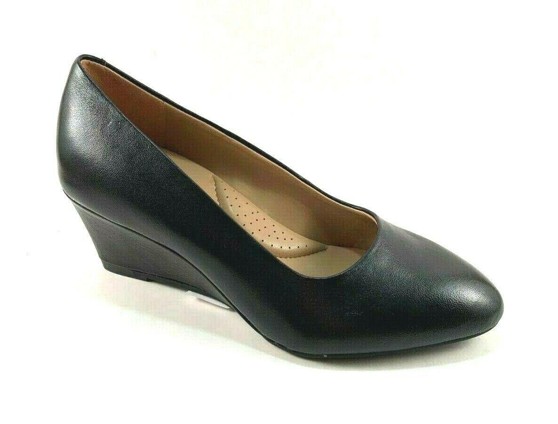 Aerosoles Inner Circle Black Leather Mid Wedge Slip On Shoes - $89.00