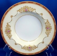 "Noritake Nippon Toki Kaisha N662 Rimmed Soup Bowl 8-1/8"" Cream and Red ca 1947 - $12.87"