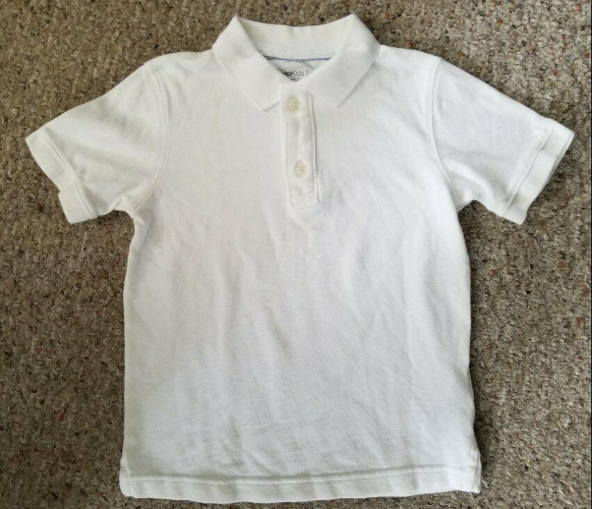 GAP KIDS White Short Sleeved Polo Shirt Boys Size 6-7