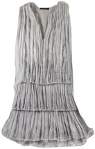"ROBERTO CAVALLI - GRAY SILK ""BEAD/SEQUIN ACCENT"" PLEATED TIERED DRESS - ... - $357.79 CAD"