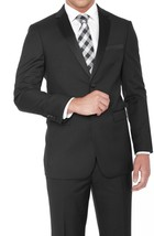 Modern Fit Black Tuxedo flat front trousers vented platinum tuxedos quality - $89.24