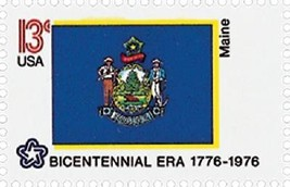 1976 13c Maine State Flag, Bicentennial Era Scott 1655 Mint F/VF NH - $1.19