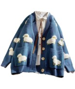 3 Cols Women's Korean Style Fluffy Sheep V-neck Knitted Cardigans Female Casual  - $39.99