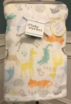 "Baby Starters White Background AQUA/YELLOW Animals Baby Blanket 30"" X 40"" Nwt - $13.49"