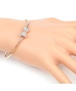 UE- Trendy Rose Tone Designer Bangle Bracelet With Swarovski Style Cryst... - $19.99