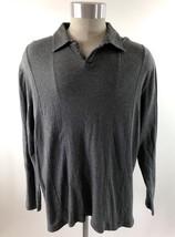 Alfani Mens Shirt Size XL Gray Polo Long Sleeve Collared Casual - $11.87