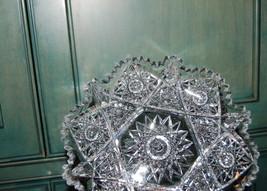 Antique Victorian ABP Cut Glass Plate Star Burst Sawtooth Rim - $50.00