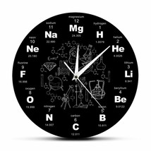 Periodic Table Of Elements Wall Art Chemical Symbols Wall Clock Educational - $16.73+