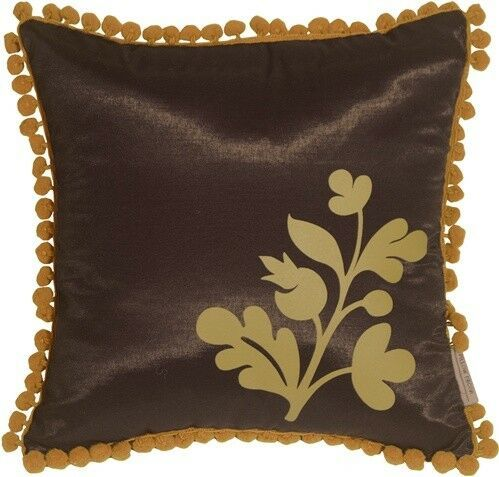 Pillow Decor - Bohemian Blossom Brown and Ocher Throw Pillow (KB1-0016-04-12) image 1