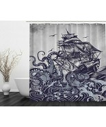 "Ambesonne Sail Boat Waves and Octopus Old Look Fabric Shower Curtain 70""... - $14.96"