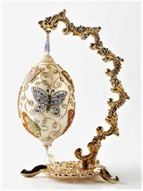 Decorated Goose Egg Butterflies Rhinestones Collectible Ornament  - $36.02