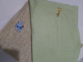 "2-JUST BORN, Recieving Blankets, 100% cotton. 32"" x 32"" tan & green. - $7.70"
