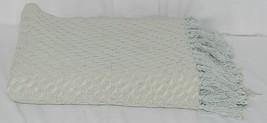 Split P Brand 85180 Light Blue White Sea Twill Weave Tasseled Throw Blanket image 1