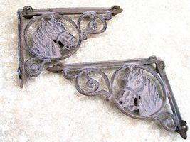 SOLID cast iron horse head shelf brackets - $24.99