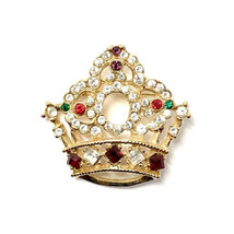 Gold Royal Queen Crown Rhinestone Pageant Pin - $50.00
