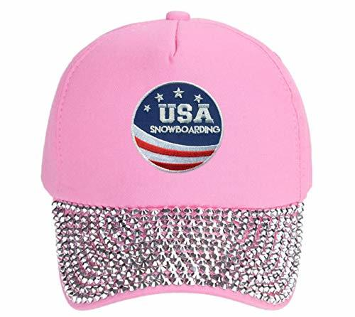 USA Snowboarding Hat - Adjustable Pink Studded Cap Olympics