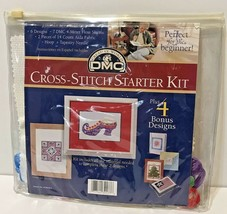 DMCCreative World Cross-Stitch Starter Kit Beginner New 4 Bonus Designs - $9.63
