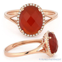 2.57 ct Checkerboard Oval Cut Red Agate Diamond Halo Cocktail Ring 14k R... - £318.41 GBP