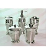 5pc Silver Metal Hobnail Bath Set Soap Pump Cotton Jar Toothbrush Holder... - $75.99
