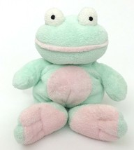 2002 Ty Pluffies Grins Mint Green Pink Frog Stuffed Animal Plush Baby Lo... - $15.14