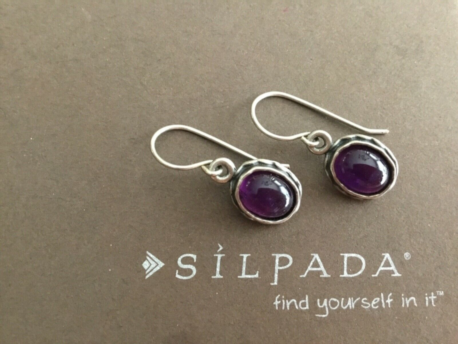 Primary image for Silpada Sterling Silver Oval Purple Amethyst Earrings W1277 Bezel Set Rare .925