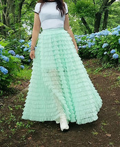 Green Ruffle Tiered Tulle Skirt Layered Long Bridal Wedding Prom Tulle Skirt image 10